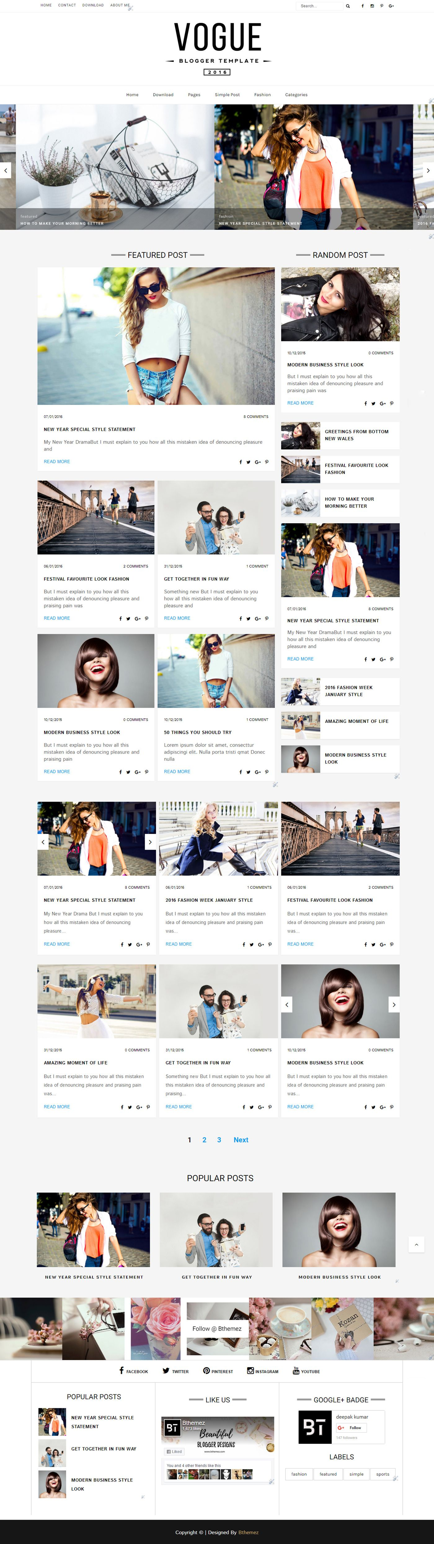 Free Fashion Responsive Blogger Template Design #free #blogger ...