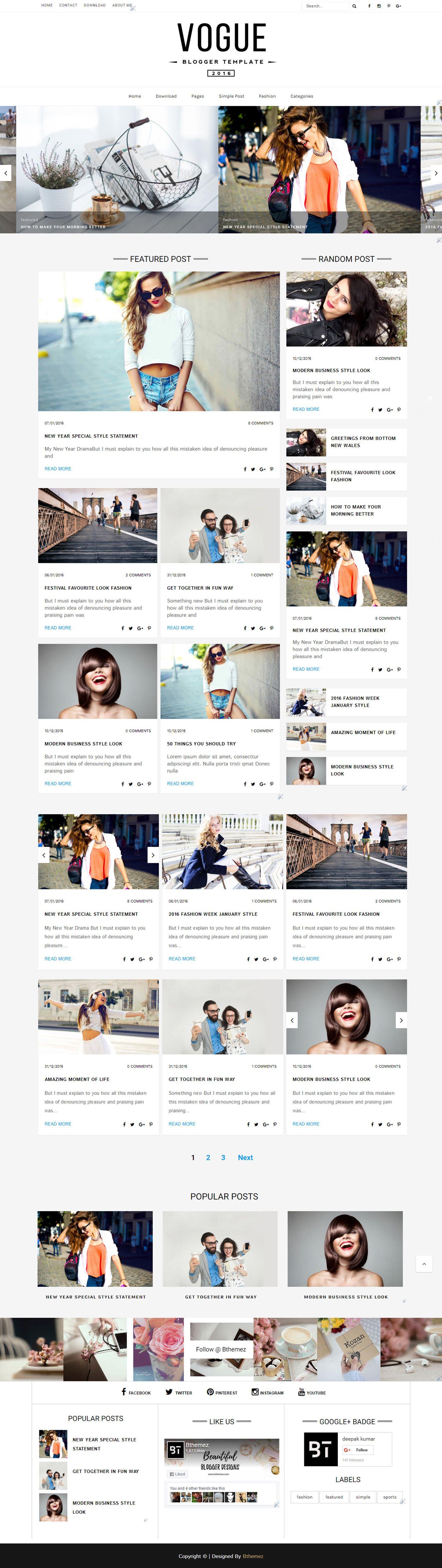 Free Fashion Responsive Blogger Template Design #free #blogger ...