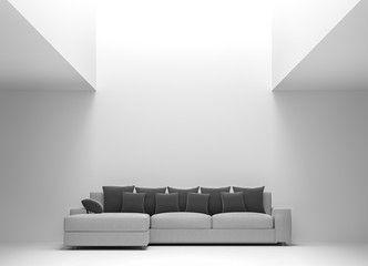 modern white living room interior minimal style 3d rendering image