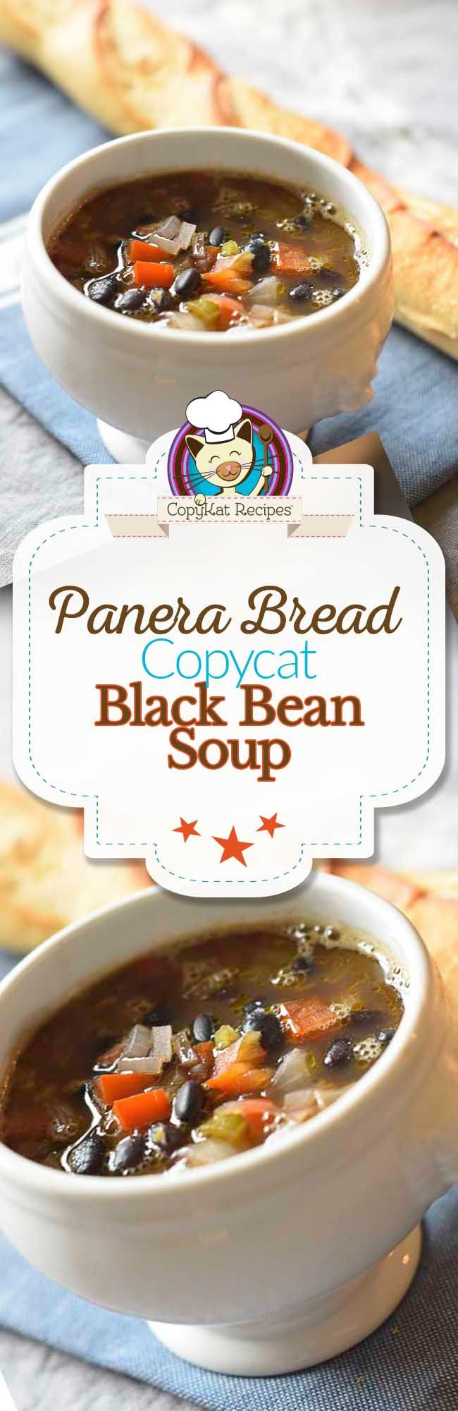 You can recreate your favorite Panera Bread Black Bean soup with this copycat recipe.  This vegetarian soup recipe is perfect for a filling meal.