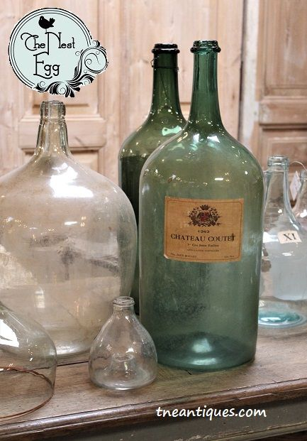 A variety of demijohns and other bottles from Europe to add to a favorite collection