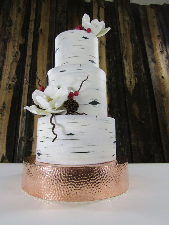 Hammered Copper Cake Stand Wedding Metal