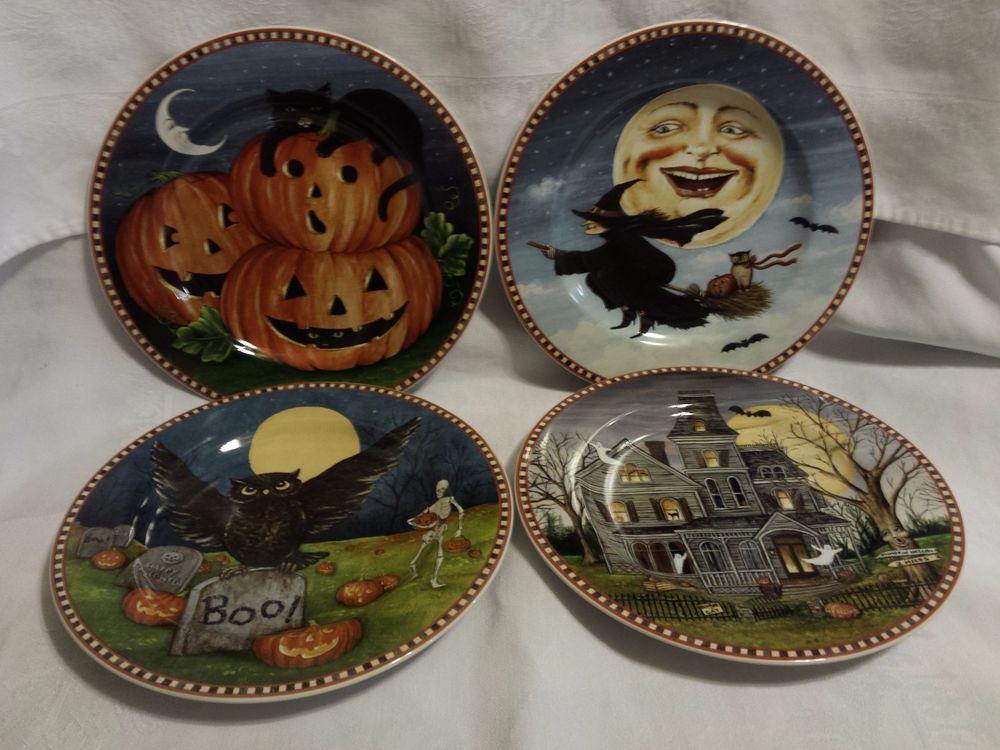 SAKURA David Carter Brown Haunted Hollow Set of 4 Plates ~ Retired ~ NIB ~ 8.25 & SAKURA David Carter Brown Haunted Hollow Set of 4 Plates ~ Retired ...