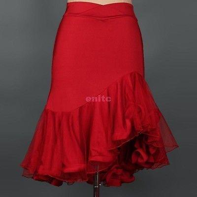 NEW Samba Latin salsa tango rumba Cha cha Ballroom Dance Dress skirt Black Red