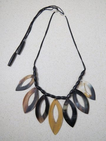Mekha Necklace Exotic handcrafted necklace carved from horn by