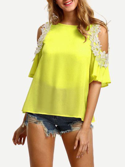 c68543248a21e Lace Applique Open Shoulder Keyhole Back Top