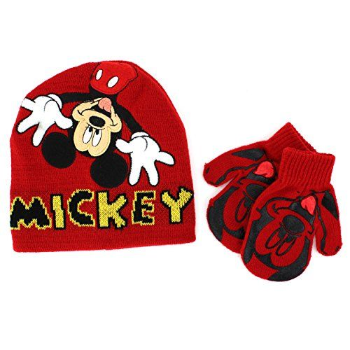 67340e5ca53 Disney Nickelodeon Toddler Boys Hat and Mittens Set (Red Mickey Mouse)  Disney http