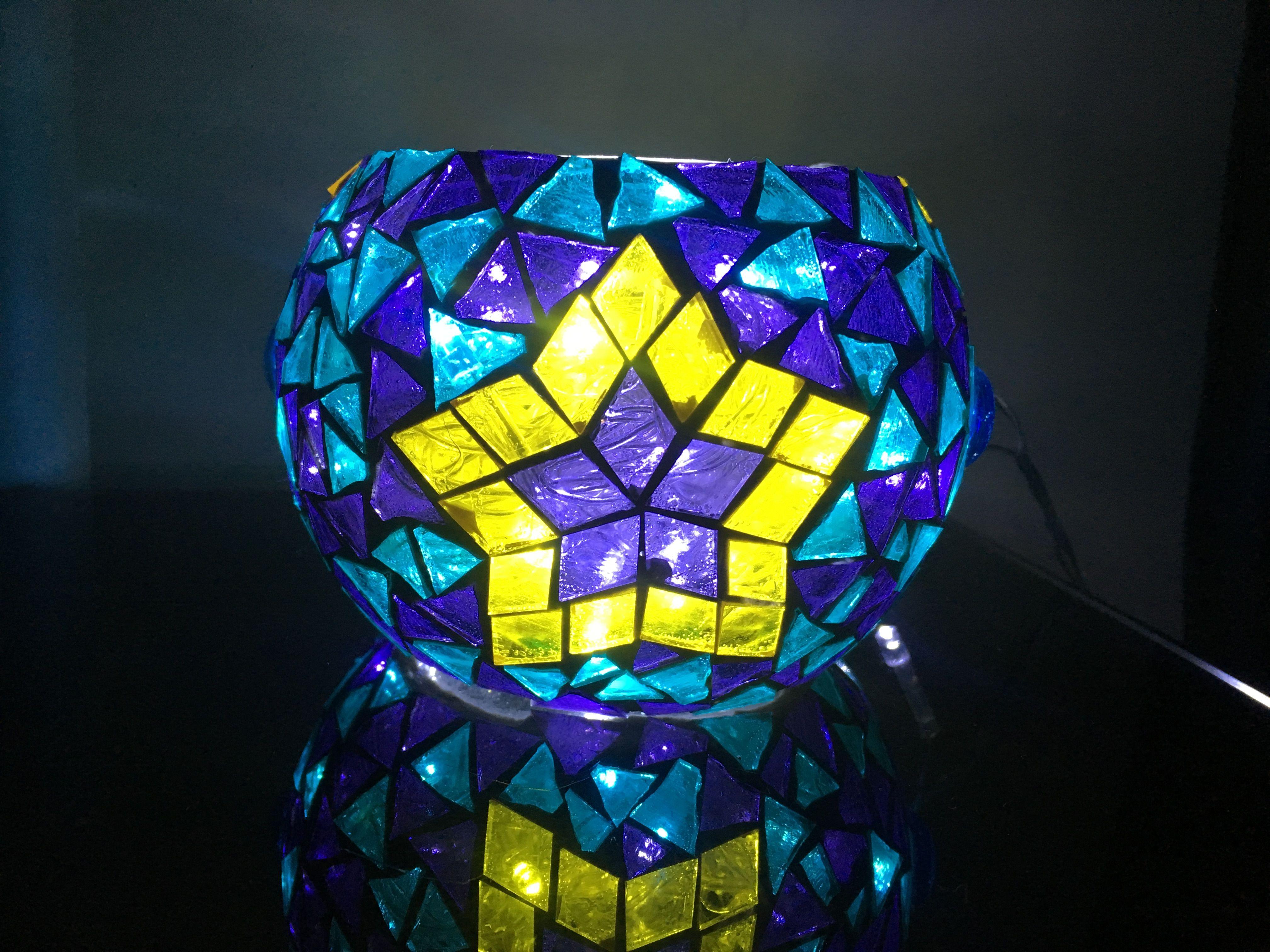 qianele Portavelas de Vidrio Mosaico Portavelas de t/é Luz rom/ántica Portavelas de luz de t/é Decoraci/ón del hogar Prop