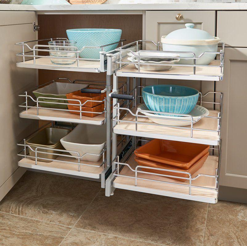 Three Tier Solid Bottom Pull Slide Pull Cabinet Organizer For 15