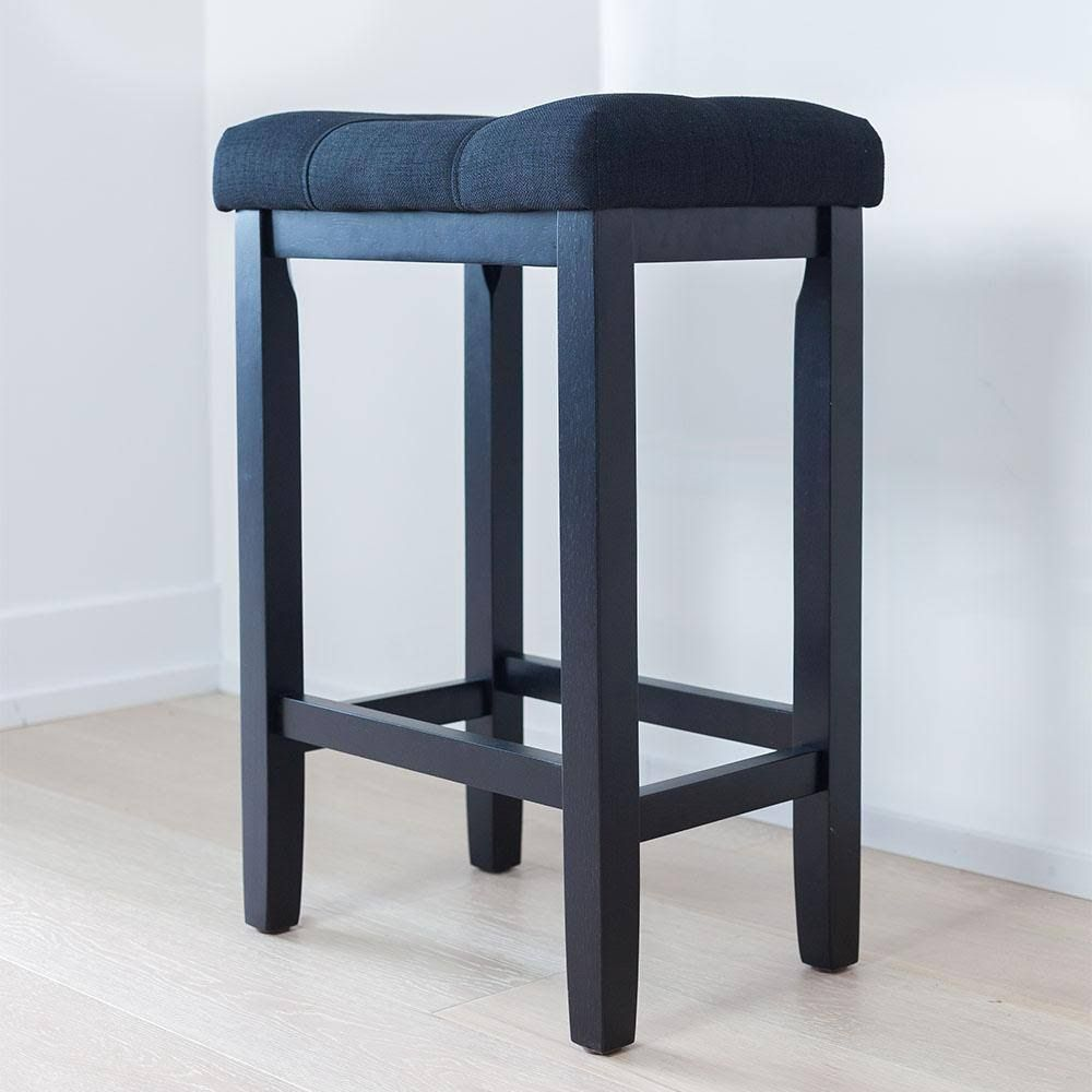 Nathan Home Counter Bar Stool 24 Inch Black Upholstered Saddle