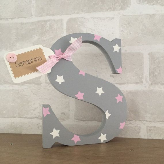 Personalised Wooden Letter Free Standing Nursery Decor Christening New
