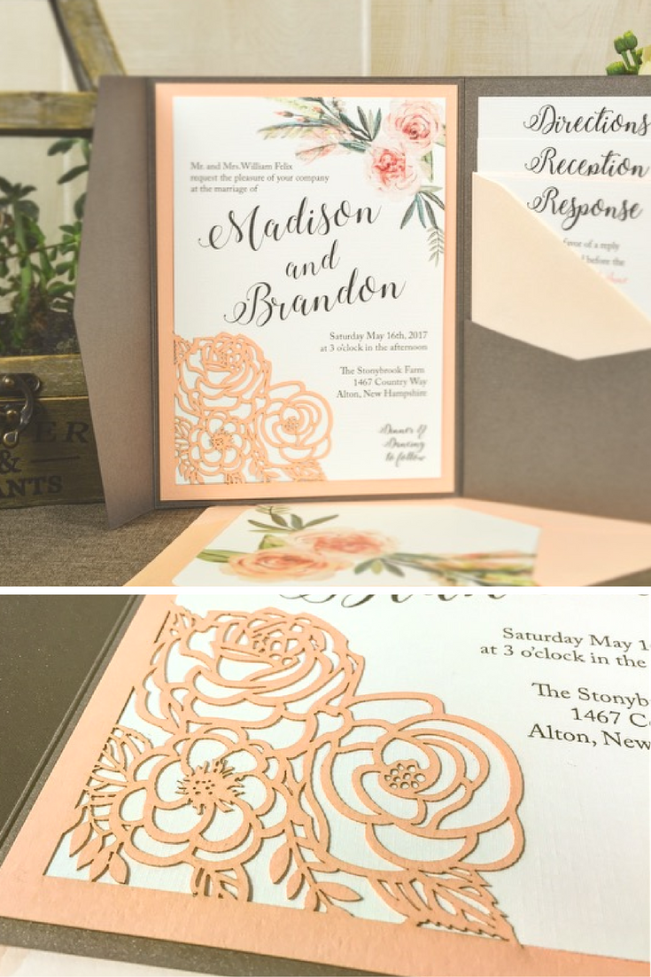 Flower Bouquet Laser Wedding Invitation | Add elegance and style to ...