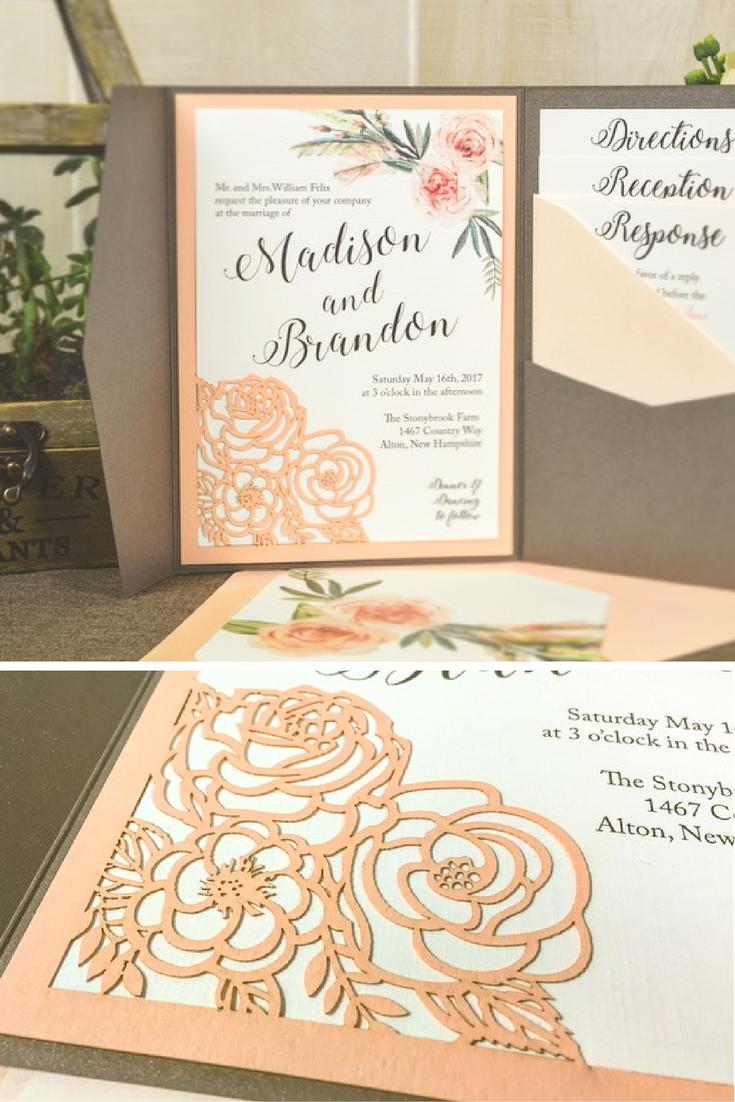 Flower Bouquet Laser Wedding Invitation | Add elegance and style ...
