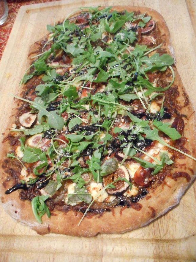 Photo of Fig, Goat Cheese, Prosciutto, and Arugula Pizza