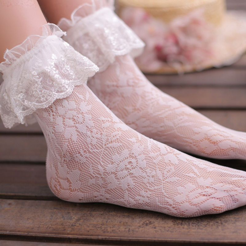 Women Girls Ankle Fancy Retro Lace Ruffle Frilly Princess Short Socks Black Hot…