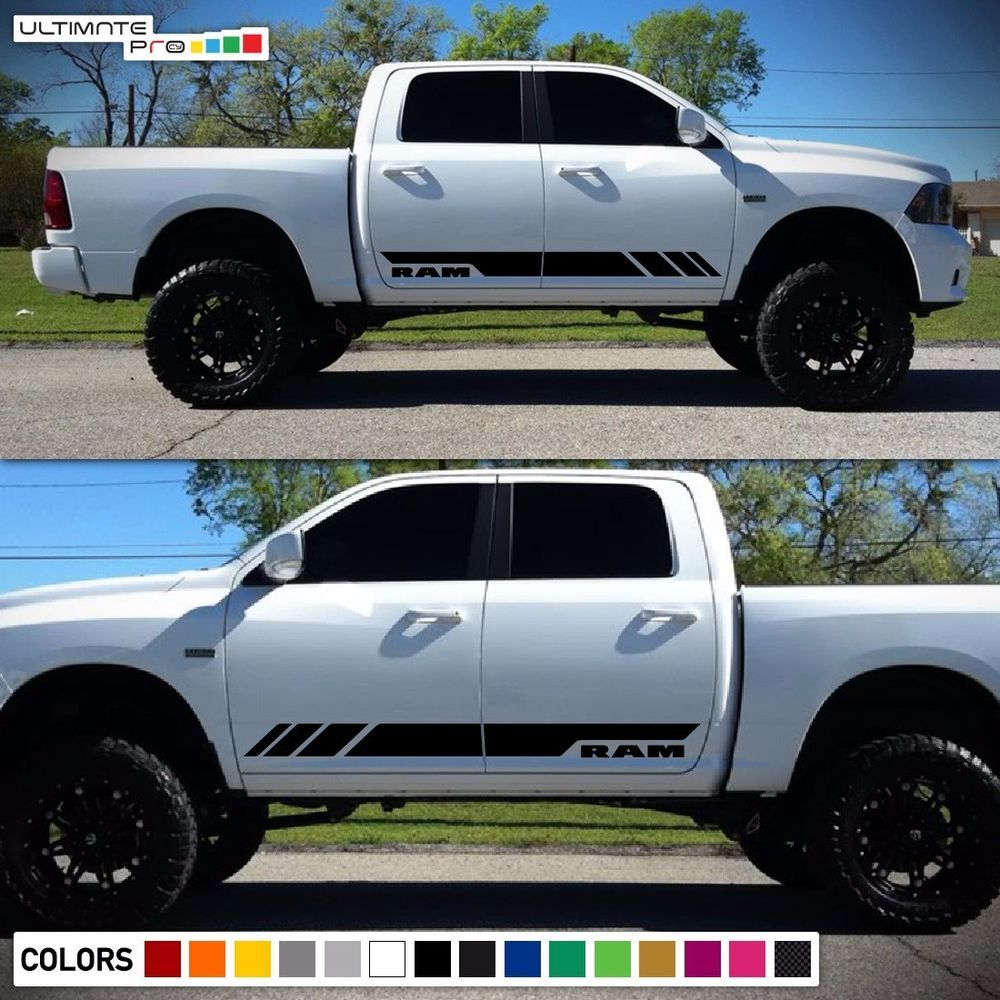 Side Stripe Decal Sticker Kit For Dodge Ram Door Fender Flare Handle 2009 2017 Diesel Trucks Dodge Ram Trucks