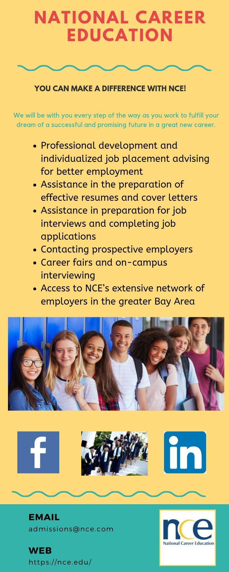 The NCE Career Services Department advises future and