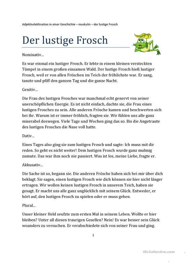 Der lustige Frosch - Adjektivdeklination in einer Geschichte ...