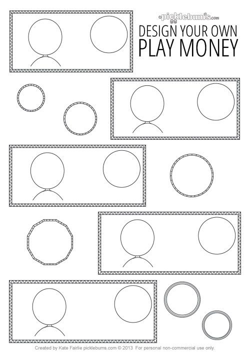 Design Your Own Printable Play Money Outside Activities Kids