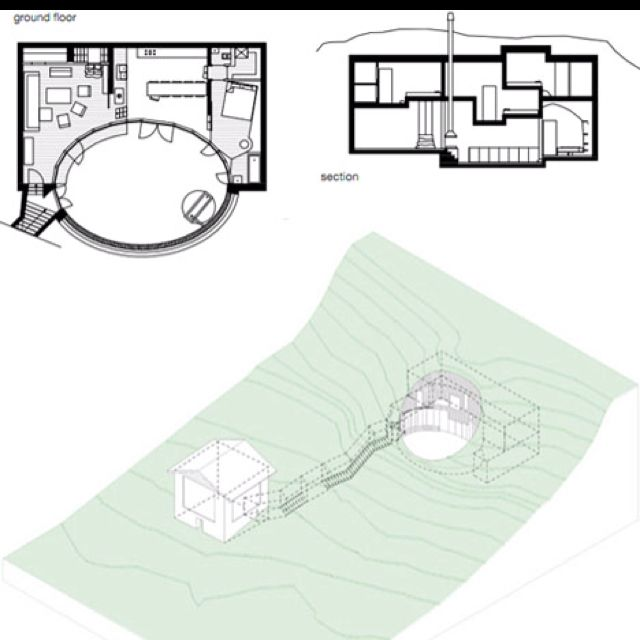 No one would suspect this old neighboring stone-and-wood barn structure would provide the concealed entry such a cool and contemporary home set back from the road, half-hidden in a hollowed-out crater on the hill.    Plans, sections and 3D diagrams from the designers show how the core structure is tucked into the hillside, while an earth-carved tunnel connects to the main understated entryway.