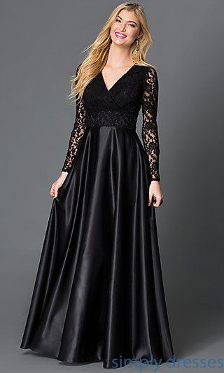 Long Sleeve Lace Bodice Long Black Formal Gown Dresses