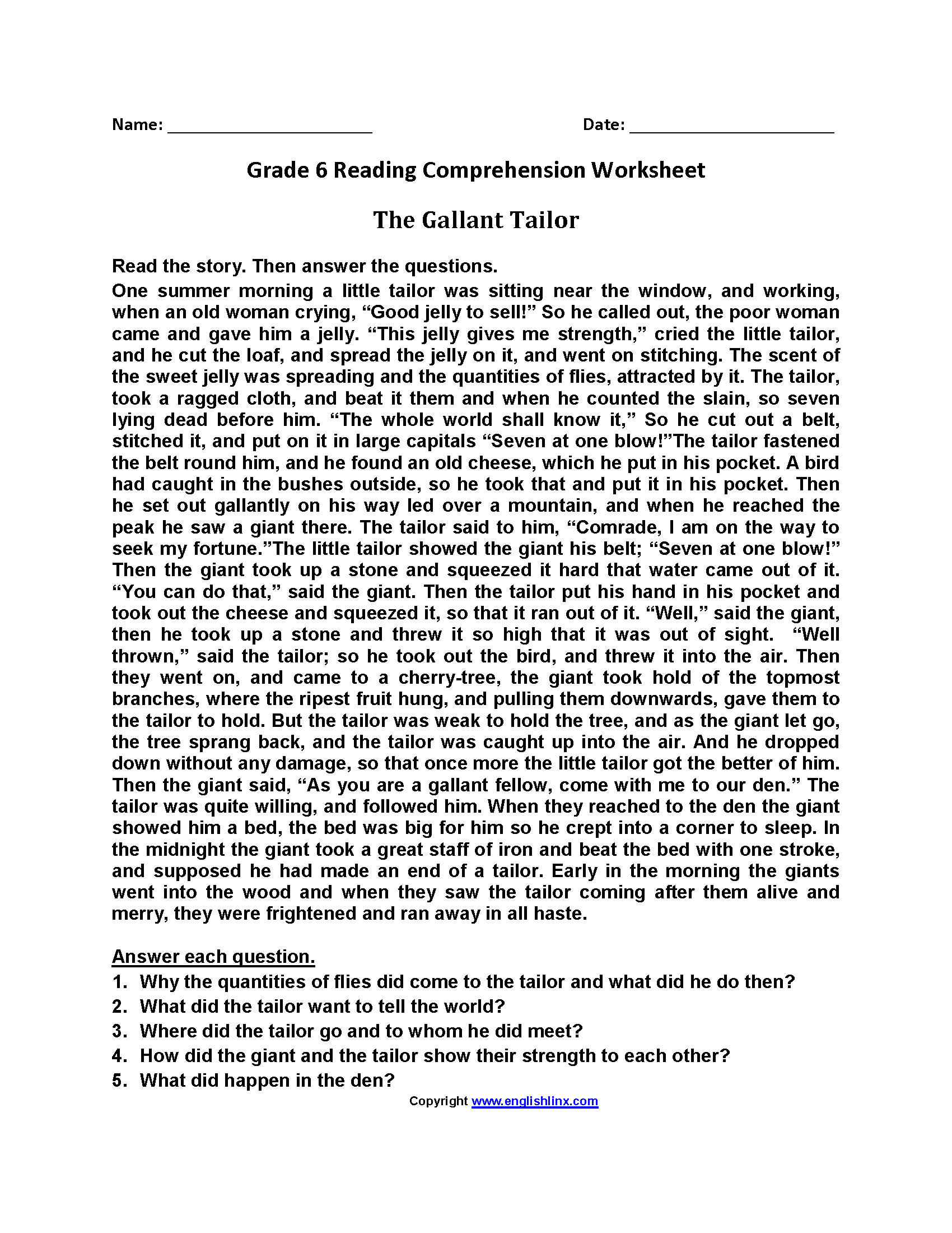 The Gallant Tailor Sixth Grade Reading Worksheets