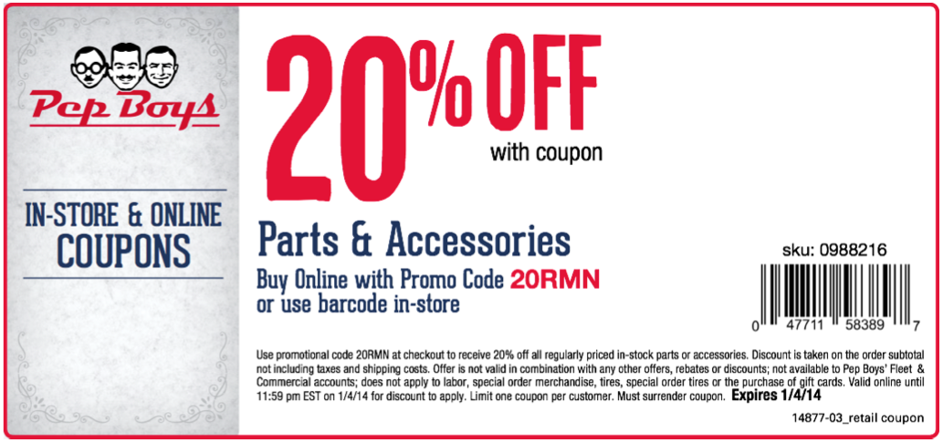 Pepboys Promo Code >> Pep Boys 20 Off Parts Printable Coupon Coupons Pep Boys