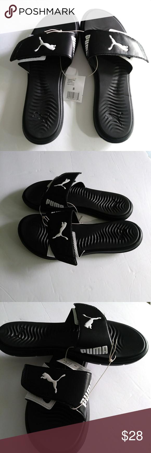 f37fe80982de Puma Women s Surfcat Slide Slip On Sandals size 9 New Puma Women s Surfcat  Adjustable Strap White Black Sandals -Brand  Puma -Size  9 -Color  Black  White ...