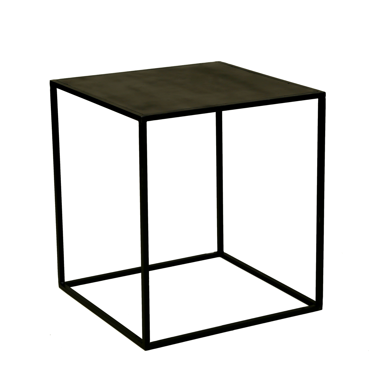 Cube Powder Coated Metal Side Table On Chairish Com Metal Side
