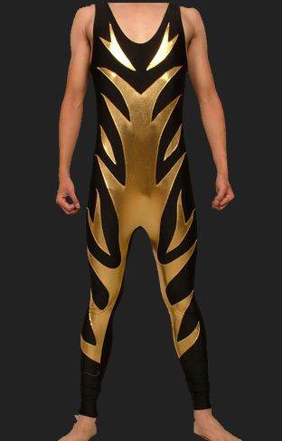 Black and Gold Spandex Lycra and Shiny Metallic Wrestling Singlets ...