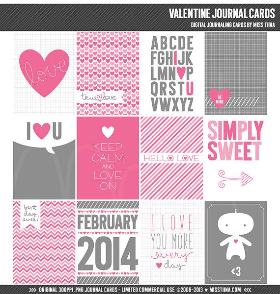 Valentine Digital Journal Cards - 3x4 project life inspired printable scrapbooking journaling note cards - instant download - CU OK