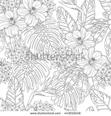 Tropical Flowers And Leaves Seamless Pattern Page Of Coloring