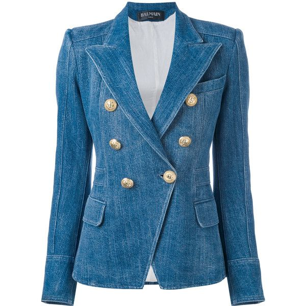 5263be59829 Balmain double-breasted denim blazer (22.967.510 IDR) ❤ liked on Polyvore  featuring outerwear, jackets, blazers, blue, balmain blazer, denim blazer  jacket, ...