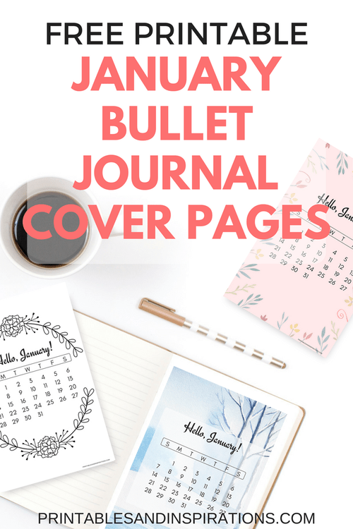 free printable january bullet journal cover designs with january calendar