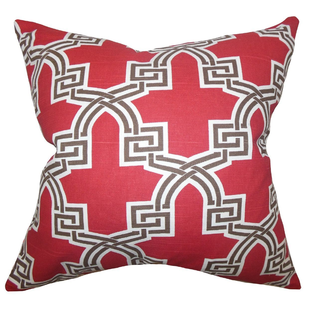 Letha Geometric 24-inch Down Feather Throw Pillow Red (24\