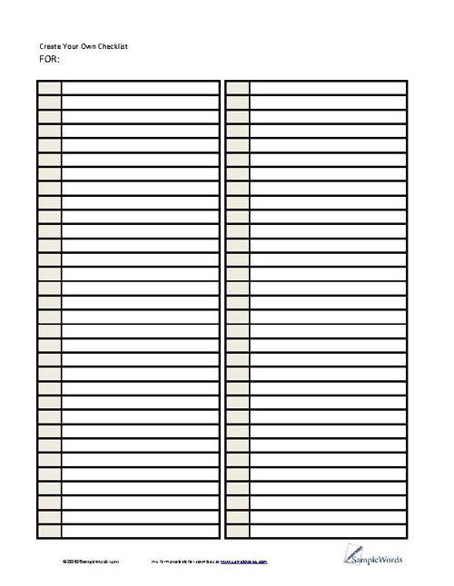 Lists Printable Forms Templates Samples Templates Printable Free Checklist Template Template Printable