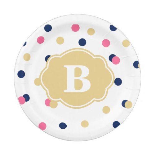 Navy Gold Pink Polka Dot Monogram Paper Plate | Party Paper Plates | Pinterest | Monograms Navy and Gold  sc 1 st  Pinterest & Navy Gold Pink Polka Dot Monogram Paper Plate | Party Paper Plates ...
