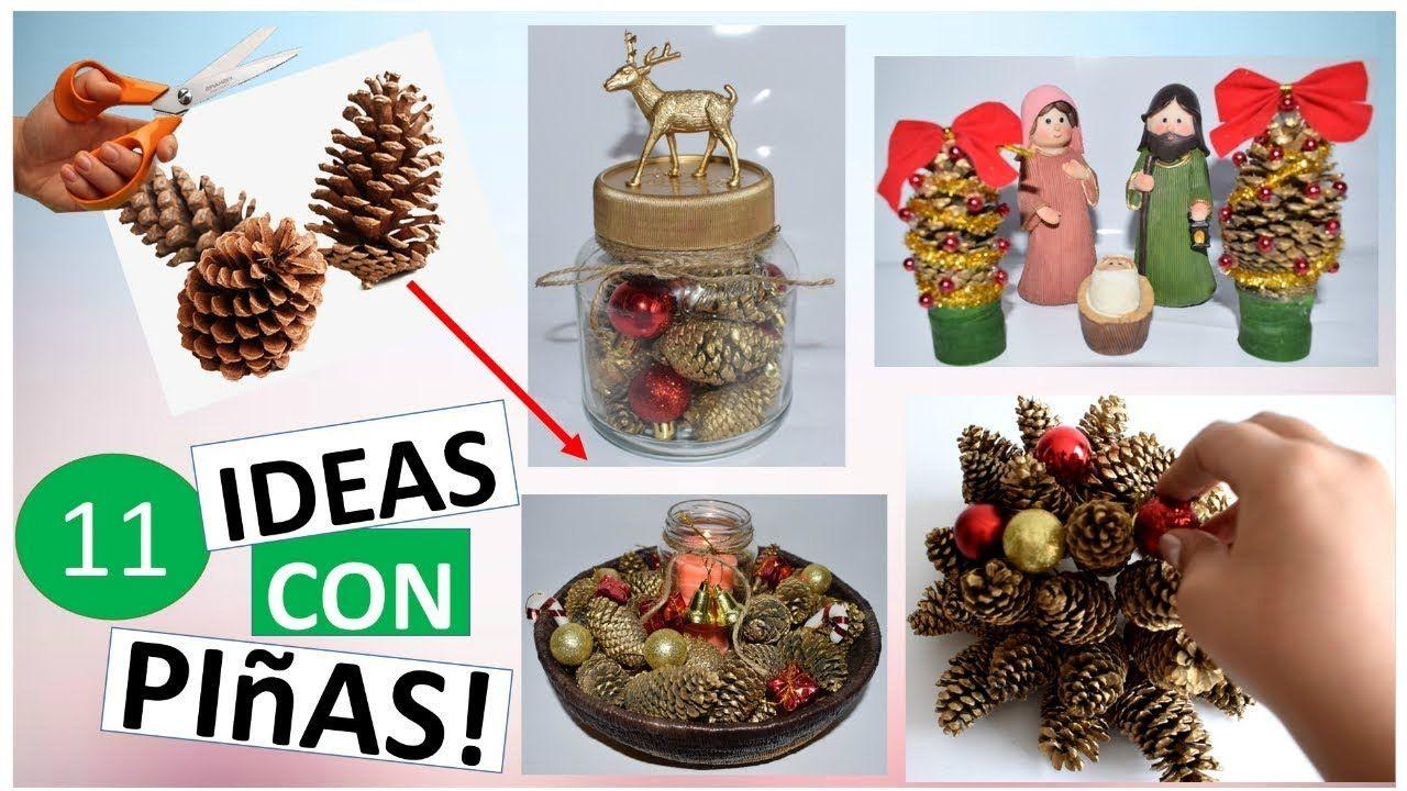 11 manualidades para navidad f ciles con pi as de pino - Decorar pinas naturales ...