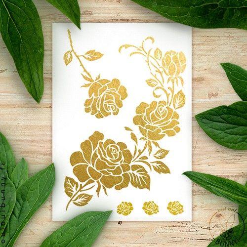Grand Tatouage Ephemere A Roses Mariage Boheme Pinterest