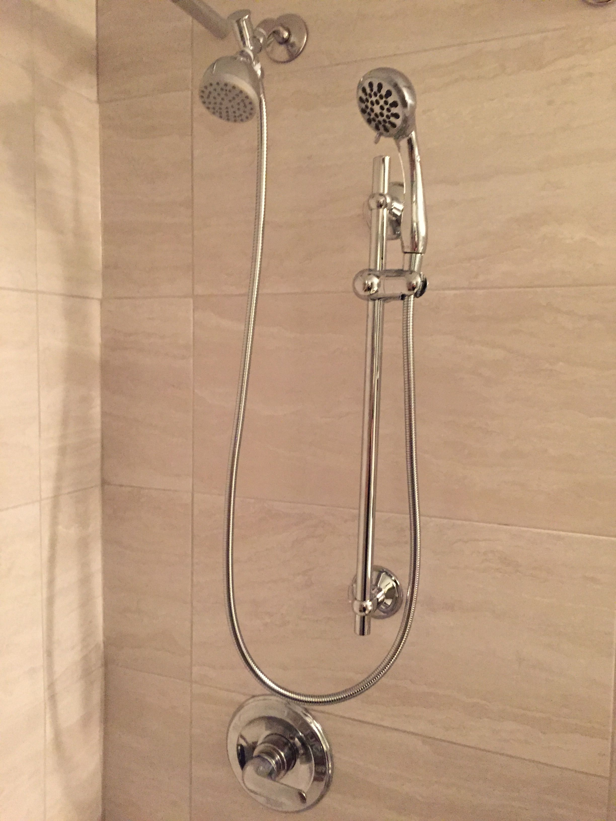 Amazing Regular Shower Head And Hand Held Shower Head On Slide Bar. Love It!