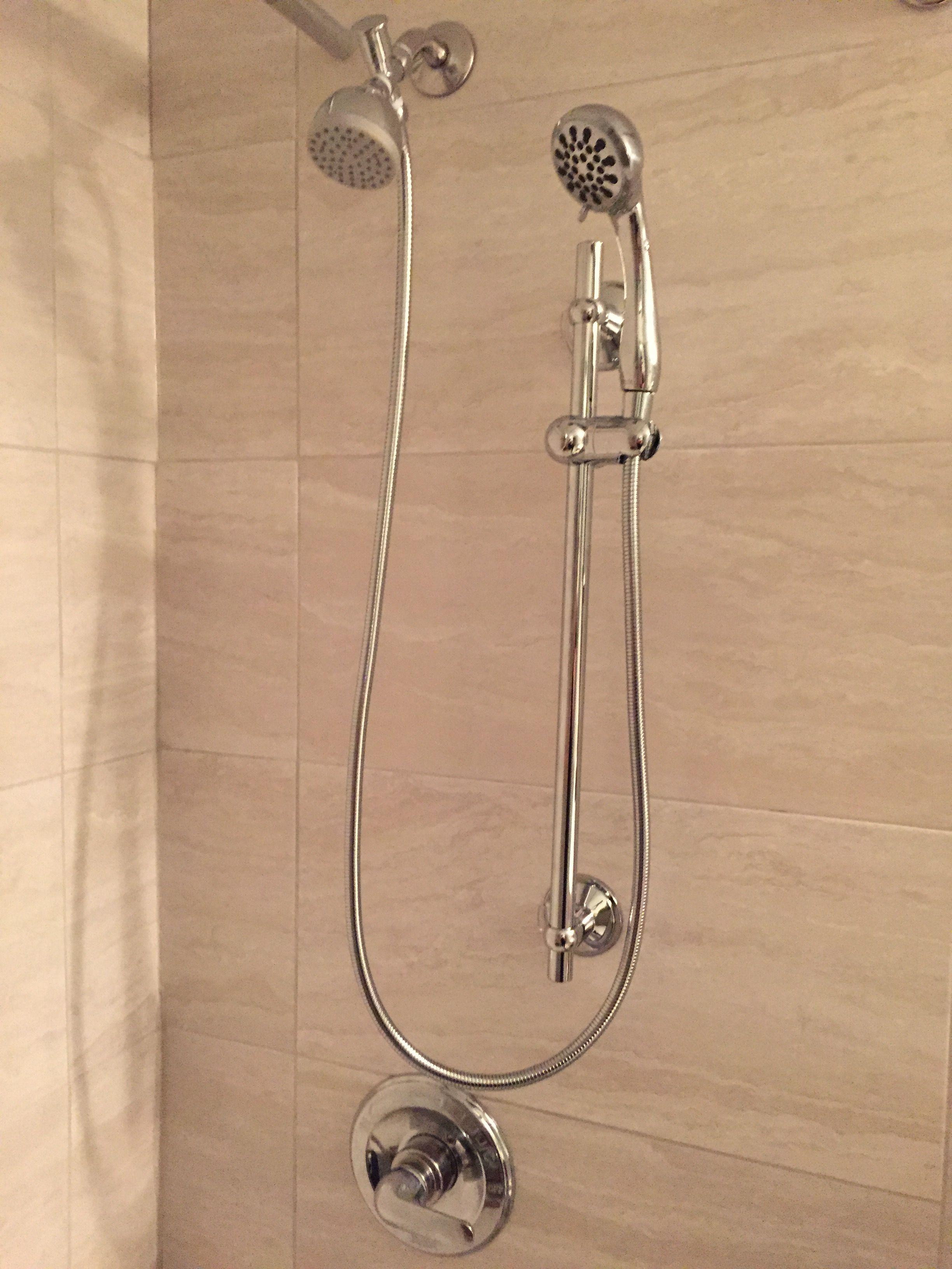 regular shower head and hand held shower head on slide bar love it for the home pinterest. Black Bedroom Furniture Sets. Home Design Ideas