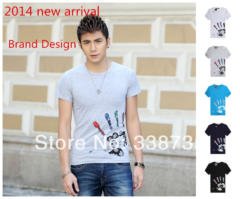 Hot sale Spring 2014 3D t-shirt palm colorful printing round neck short sleeve T-shirt cotton brand design casual men clothes XL $9.80