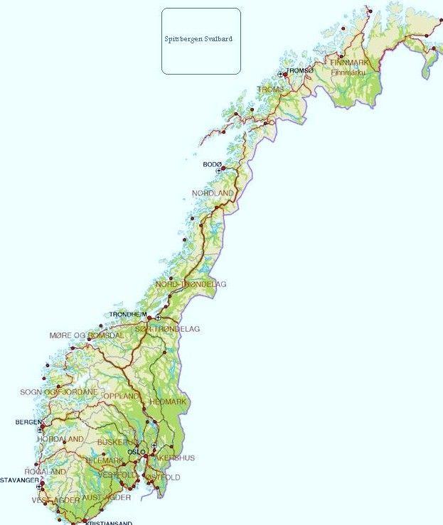 Kaart Van Noorwegen Noorwegen Rondreizen Pinterest - Norway encarta map