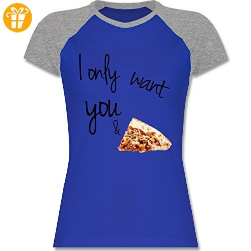 Statement Shirts - I only want you and pizza - XL - Royalblau/Grau meliert
