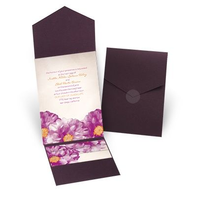 Spanish Poppy Pocket Wedding Invitation - Purple at Invitations By Dawn