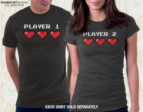 TooLoud Player One Couples Design Muscle Shirt