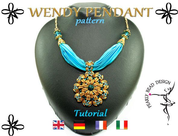 WENDY PENDANT pattern with Crescent beads and pinch beads by PearlyBeadDesign on Etsy