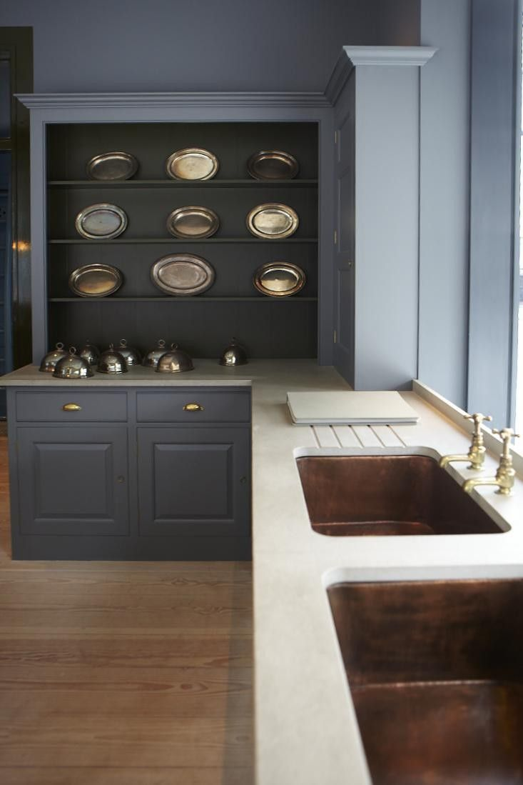 Plain english kitchen via remodelista copper and slate sinks
