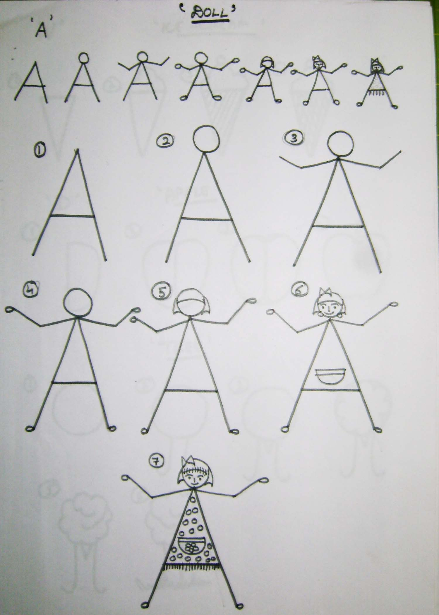 How to teach kids to draw using the alphabet doodles Teach me how to draw a flower