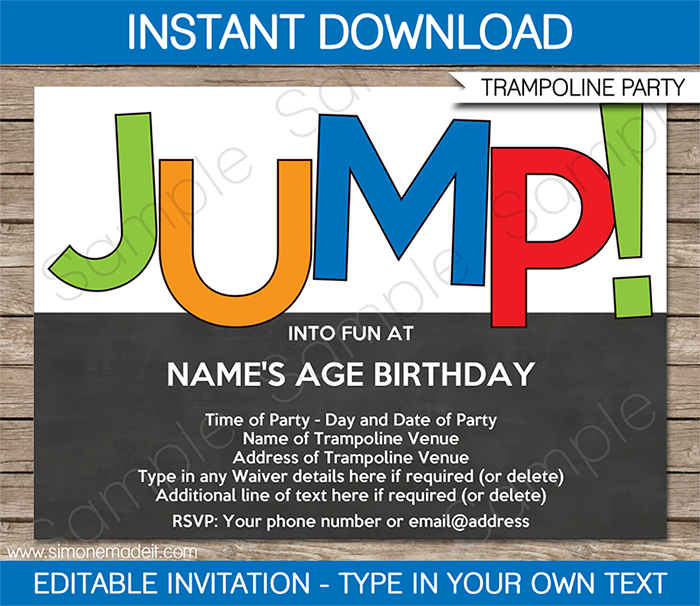 trampoline party invitations template